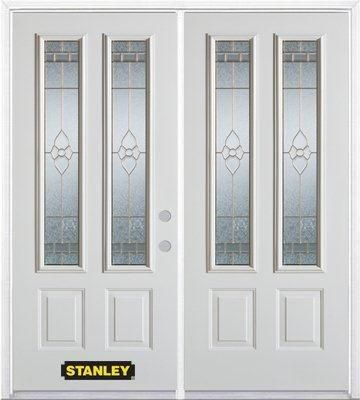 70-inch x 82-inch Marguerite 2-Lite 2-Panel White Double Steel Door with Astragal and Brickmould