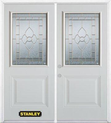 70-inch x 82-inch Marguerite 1/2-Lite 1-Panel White Double Steel Door with Astragal and Brickmoul...