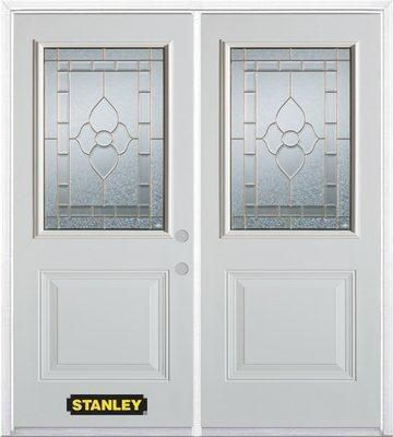 74-inch x 82-inch Marguerite 1/2-Lite 1-Panel White Double Steel Door with Astragal and Brickmoul...