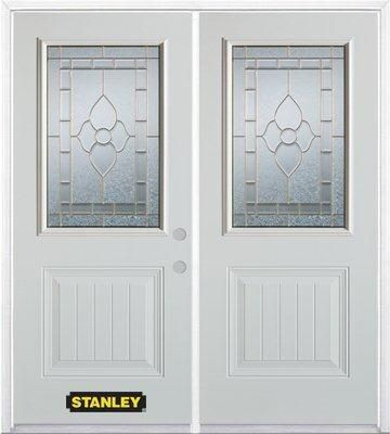 66-inch x 82-inch Marguerite 1/2-Lite 1-Panel White Double Steel Door with Astragal and Brickmoul...