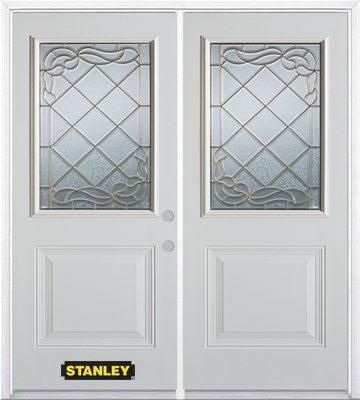 74-inch x 82-inch Queen Anne 1/2-Lite 1-Panel White Double Steel Door with Astragal and Brickmoul...