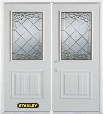 66-inch x 82-inch Queen Anne 1/2-Lite 1-Panel White Double Steel Door with Astragal and Brickmoul...