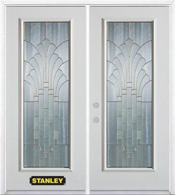 74-inch x 82-inch Gladis Full Lite White Double Steel Door with Astragal and Brickmould