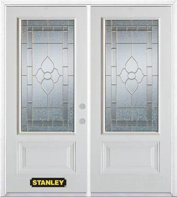 66-inch x 82-inch Marguerite 3/4-Lite 2-Panel White Double Steel Door with Astragal and Brickmoul...
