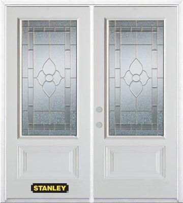 70-inch x 82-inch Marguerite 3/4-Lite 2-Panel White Double Steel Door with Astragal and Brickmoul...