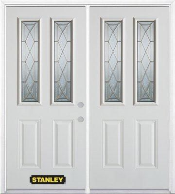 70-inch x 82-inch Queen Anne 2-Lite 2-Panel White Double Steel Door with Astragal and Brickmould