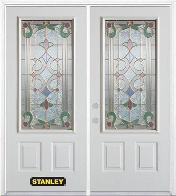 74-inch x 82-inch Aristocrat 3/4-Lite 2-Panel White Double Steel Door with Astragal and Brickmoul...