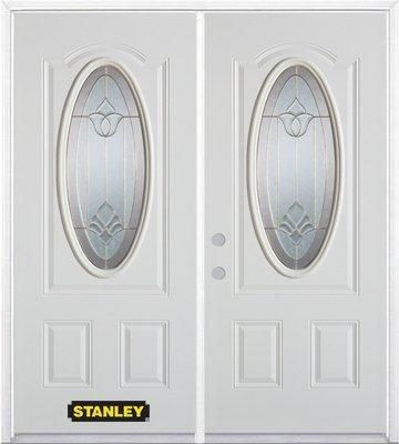 66 In. x 82 In. 3/4 Oval Lite Pre-Finished White Double Steel Entry Door with Astragal and Brickm...