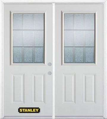 74-inch x 82-inch Diana 1/2-Lite 2-Panel White Double Steel Door with Astragal and Brickmould