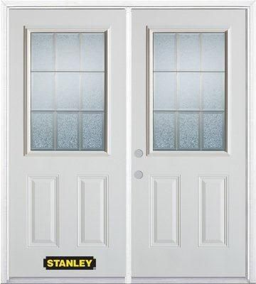 70-inch x 82-inch Diana 1/2-Lite 2-Panel White Double Steel Door with Astragal and Brickmould