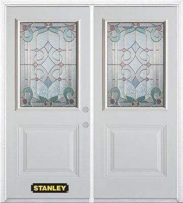 70-inch x 82-inch Aristocrat 1/2-Lite 1-Panel White Double Steel Door with Astragal and Brickmoul...