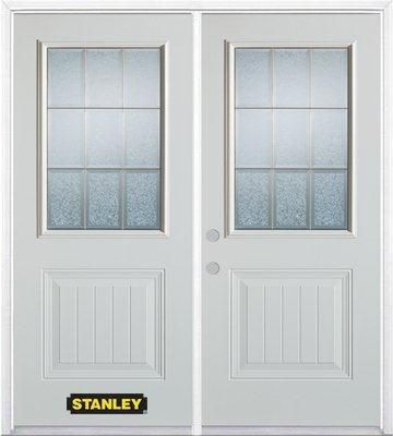 74 In. x 82 In. 1/2 Lite 1-Panel Pre-Finished White Double Steel Entry Door with Astragal and Bri...