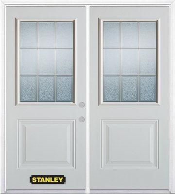 74-inch x 82-inch Diana 1/2-Lite 1-Panel White Double Steel Door with Astragal and Brickmould