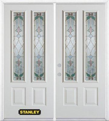 74 In. x 82 In. 2-Lite 2-Panel Pre-Finished White Double Steel Entry Door with Astragal and Brick...