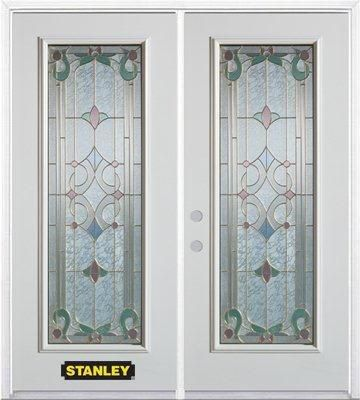 74-inch x 82-inch Aristocrat Full Lite White Double Steel Door with Astragal and Brickmould