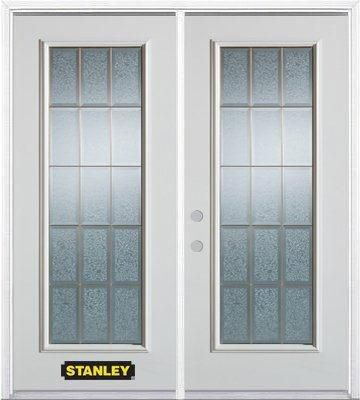 Stanley Doors 75 inch x 82.375 inch Diana Brass Full Lite Prefinished White Right-Hand Inswing Steel Prehung Double Door with Astragal and Brickmould