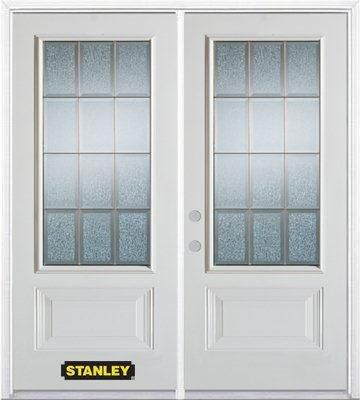 70-inch x 82-inch Diana 3/4-Lite 2-Panel White Double Steel Door with Astragal and Brickmould