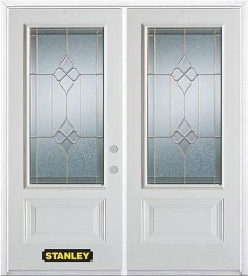 74-inch x 82-inch Beatrice 3/4-Lite 2-Panel White Double Steel Door with Astragal and Brickmould