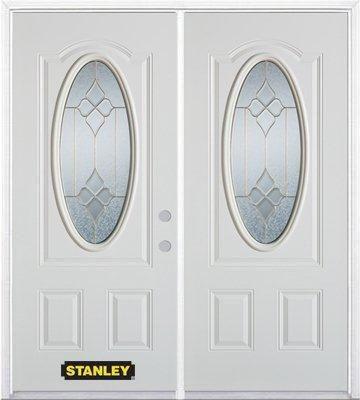 Porte dentrée double en acier préfini blanc, munie dun 3/4 verre ovale, 74 po x 82 po avec astrag...