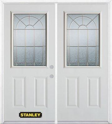 74-inch x 82-inch Elisabeth 1/2-Lite 2-Panel White Double Steel Door with Astragal and Brickmould