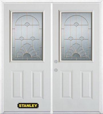 66-inch x 82-inch Florentine 1/2-Lite 2-Panel White Double Steel Door with Astragal and Brickmoul...