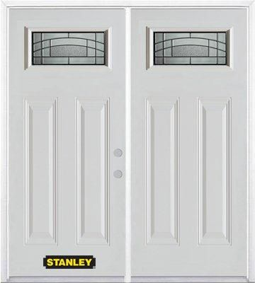 70-inch x 82-inch Chatham 1/4-Lite 2-Panel White Double Steel Door with Astragal and Brickmould