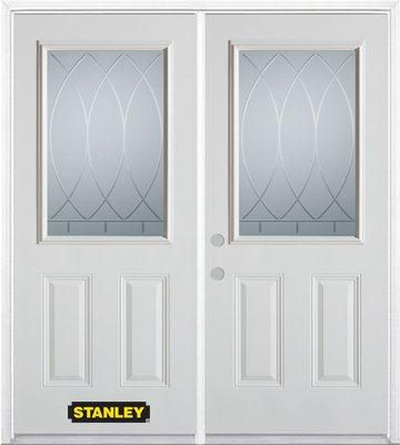 70-inch x 82-inch Bourgogne 1/2-Lite 2-Panel White Double Steel Door with Astragal and Brickmould
