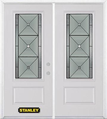 66 In. x 82 In. 3/4 Lite 1-Panel Pre-Finished White Double Steel Entry Door with Astragal and Bri...