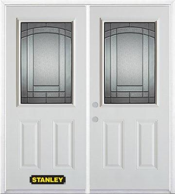 Porte dentrée double en acier préfini blanc, munie de deux panneaux et dun 1/2 verre, 74 po x 82 ...