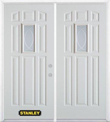 Porte dentrée double en acier préfini blanc, munie de huit panneaux et dun verre rectangulaire de...