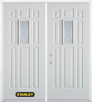 66 In. x 82 In. 9 In. x 19 In. Rectangular Lite 8-Panel Pre-Finished White Double Steel Entry Doo...