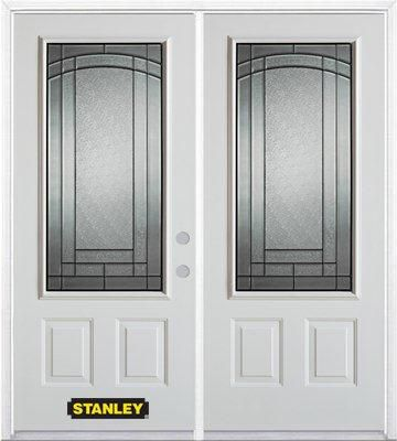 70-inch x 82-inch Chatham 3/4-Lite 2-Panel White Double Steel Door with Astragal and Brickmould