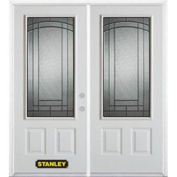 Stanley Doors 71 inch x 82.375 inch Chatham Patina 3/4 Lite 2-Panel Prefinished White Left-Hand Inswing Steel Prehung Double Door with Astragal and Brickmould
