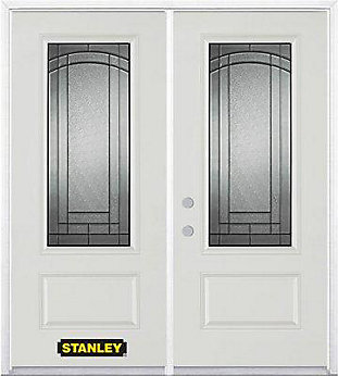 Stanley Doors 75 Inch X 82 375 Chatham Patina 3 4 Lite 1 Panel Prefinished White Right Hand Inswing Steel Prehung Double Door With Astragal And