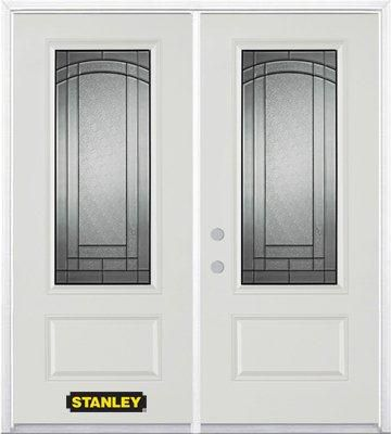 70-inch x 82-inch Chatham 3/4-Lite 1-Panel White Double Steel Door with Astragal and Brickmould