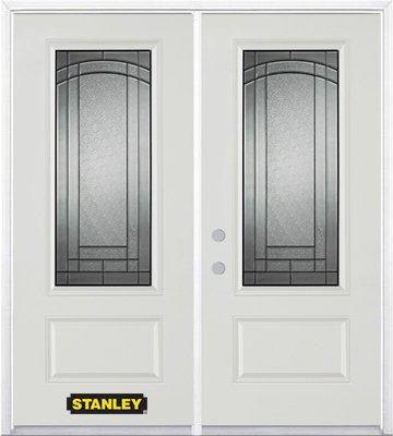 Porte dentrée double en acier préfini blanc, munie d'un panneau et dun 3/4 verre, 70 po x 82 po a...