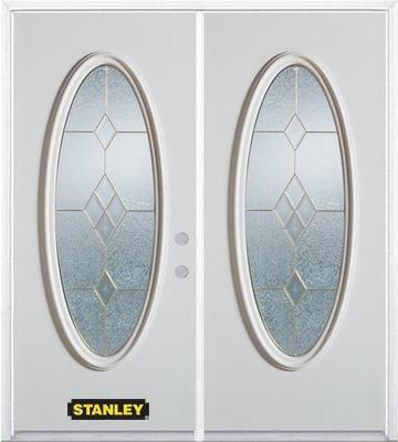 74-inch x 82-inch Tulip Full Oval Lite White Double Steel Door with Astragal and Brickmould