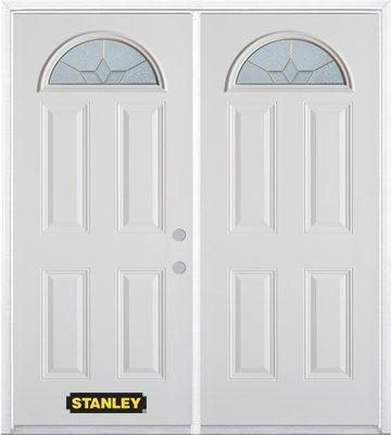 74-inch x 82-inch Tulip Fan Lite 4-Panel White Double Steel Door with Astragal and Brickmould