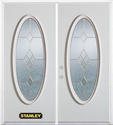 Porte dentrée double en acier préfini blanc, munie dun verre ovale, 74 po x 82 po avec astragale ...