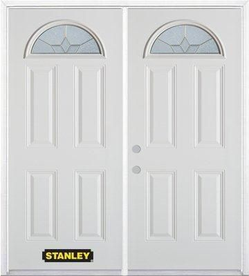 66-inch x 82-inch Tulip Fan Lite 4-Panel White Double Steel Door with Astragal and Brickmould