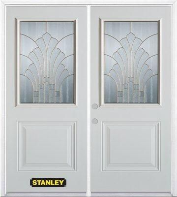 70-inch x 82-inch Gladis 1/2-Lite 1-Panel White Double Steel Door with Astragal and Brickmould