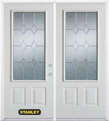 66-inch x 82-inch Tulip 3/4-Lite 2-Panel White Double Steel Door with Astragal and Brickmould