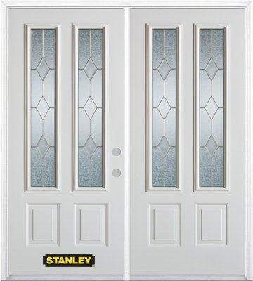 74-inch x 82-inch Tulip 2-Lite 2-Panel White Double Steel Door with Astragal and Brickmould