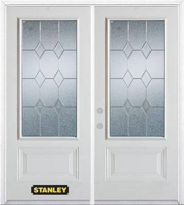 74-inch x 82-inch Tulip 3/4-Lite 2-Panel White Double Steel Door with Astragal and Brickmould