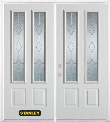 66-inch x 82-inch Tulip 2-Lite 2-Panel White Double Steel Door with Astragal and Brickmould