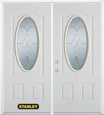 74-inch x 82-inch Tulip Oval 3/4-Lite White Double Steel Door with Astragal and Brickmould