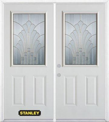 74-inch x 82-inch Gladis 1/2-Lite 2-Panel White Double Steel Door with Astragal and Brickmould