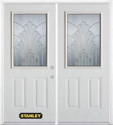 70-inch x 82-inch Gladis 1/2-Lite 2-Panel White Double Steel Door with Astragal and Brickmould
