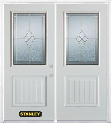74-inch x 82-inch Beatrice 1/2-Lite 1-Panel White Double Steel Door with Astragal and Brickmould