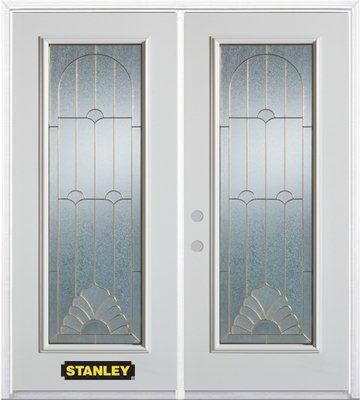 70 In. x 82 In. Full Lite Pre-Finished White Double Steel Entry Door with Astragal and Brickmould